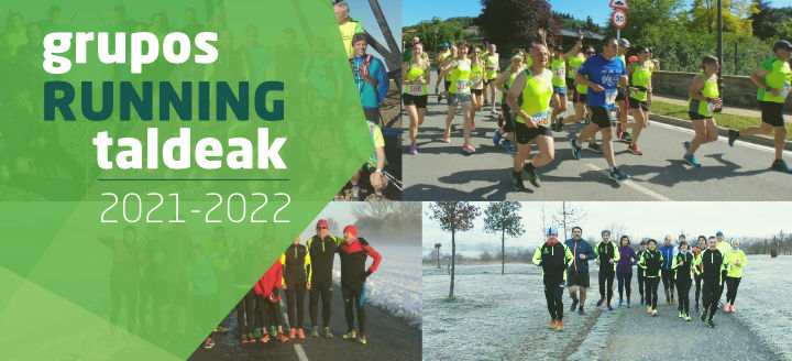 Banner. Collage de fotos de diferentes grupos de runners. Inscripciones running popular temporada 2020-2021